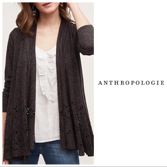 Anthropologie Sweaters - Anthropologie Verna Laser Cut Cardigan in Gray