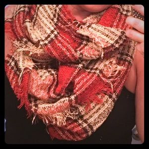 Accessories - FALL Infinity Scarf - Pumpkin, White, and Black