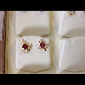 Other - Cute little heart angel wing ruby studs 18GF
