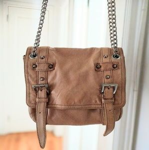 Pour La Victoire Beige Leather Chain Crossbody Bag