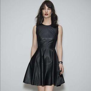Halogen Back Zip Leather & Ponte Dress