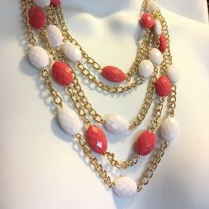 Jewelry - Gold Layered White & Coral Necklace