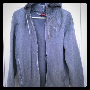 Grey Puma zip up jacket with hoodie