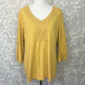 Karen Scott 1X Mustard Yellow Blouse Crochet Lace
