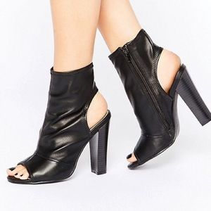 Call It Spring Peeptoe Sock Heeled Ankle Boots 8.5