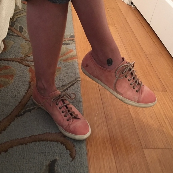 Frye Mindy Low Pink Leather Sneakers