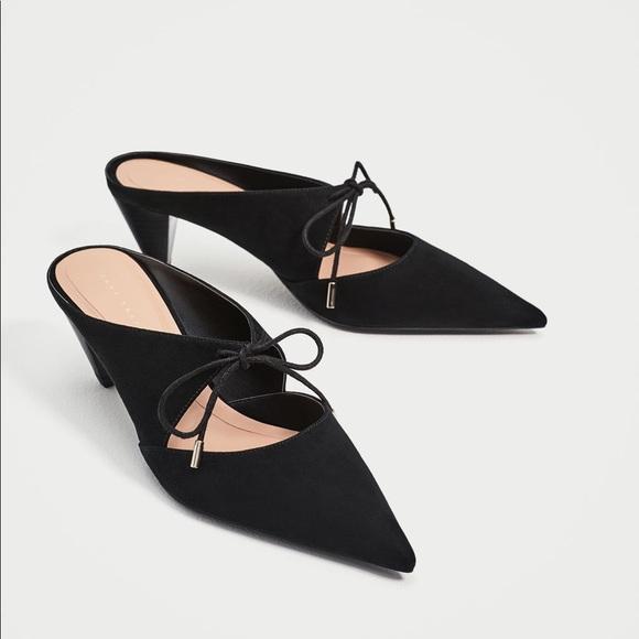 63c53348a6c Zara black tied backless high heel shoes