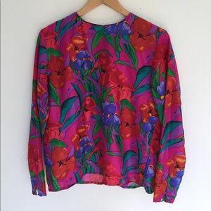 Vintage floral silk blouse