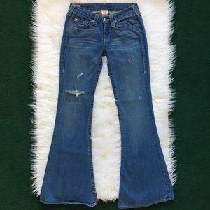 True Religion Distressed Flared Jeans Denim SZ 27