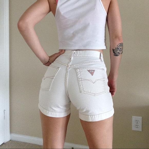 8ce2d838e4 Guess Pants - GUESS Jeans vintage 90s White Denim Shorts