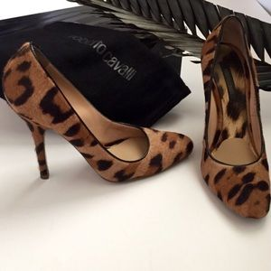 Roberto Cavalli Animal Print Pony Hair Heels 38