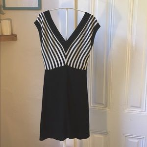Sandro black and white striped dress