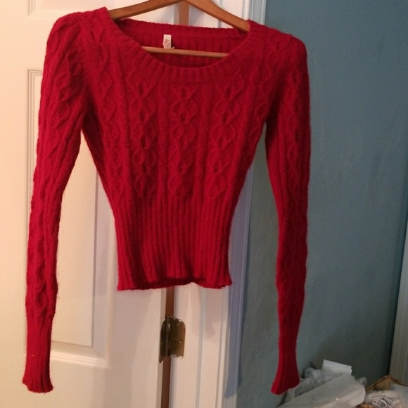 60% off Lilu Sweaters - Gorgeous fuzzy slightly cropped cherry red ...