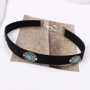 Jewelry - Turquoise & Silver Black Suede Conch Choker