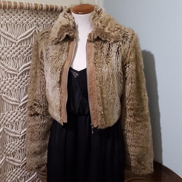 27aff1e3f Wet Seal Suede & Faux Fur Tan Cropped Coat S