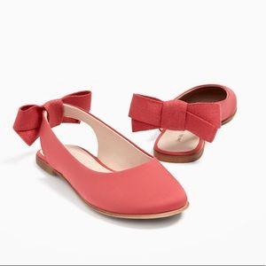 Zara girls pink ballerinas with bow