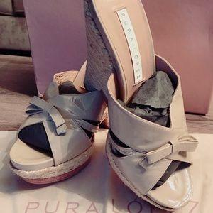 2f421586f03b Pura Lopez Shoes - Pura Lopez Tan patent leather wedge shoe