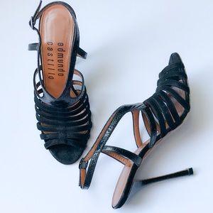 Edmundo Castillo Black Strap Sandal Bootie NWOT