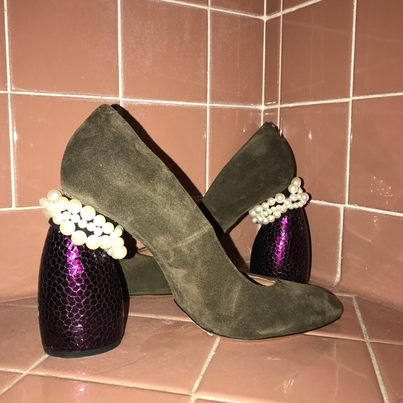 249f7a9ecf Dries Van Noten Shoes | Pearl Embellished Suede Courts | Poshmark