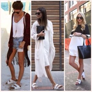 White Asos double strap sandal with velcro