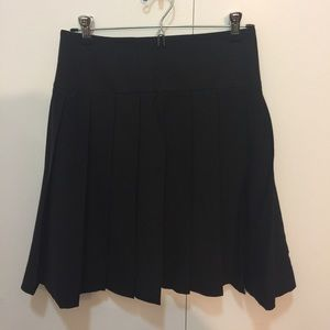 Theory Black Stretch Wool Pleated Skirt
