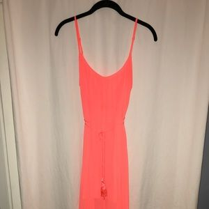 Bright coral scoop back pleated maxi