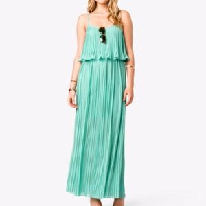 Pleated maxi dress with spaghetti straps