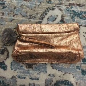 Rose gold metallic clutch/wristlet
