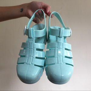 Mint green American apparel heeled jelly sandal
