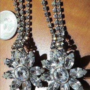 Jewelry - Vintage long rhinestone earrings