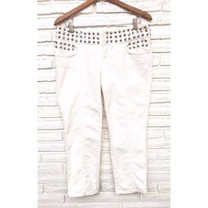 Moschino Jeans White Studded Capri Cropped Pants