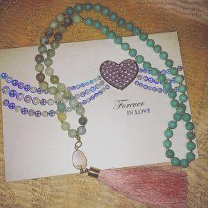 Jewelry - Handmade beaded tassel necklace with druzy stone