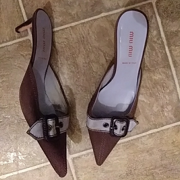 7e2bb1b5d367 Miu Miu by PRADA brown mules Heels Size 37   7