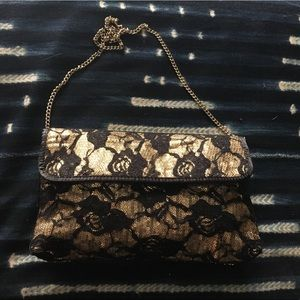 Betsy Johnson Gold Sequin Lace Clutch