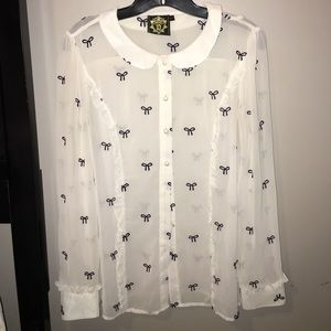 Tops - Bow Blouse white and black