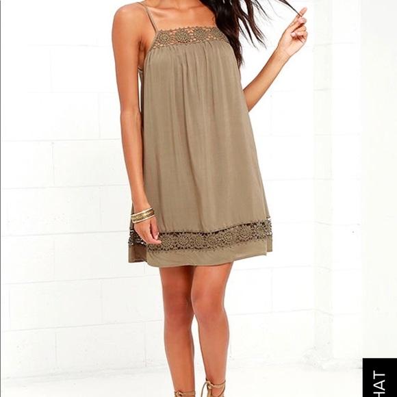 497803e285 Lulu s Olive green shift dress with crotchet lace