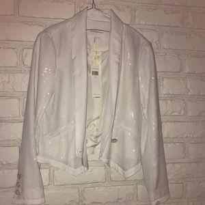 BCBGeneration white sequin tuxedo jacket