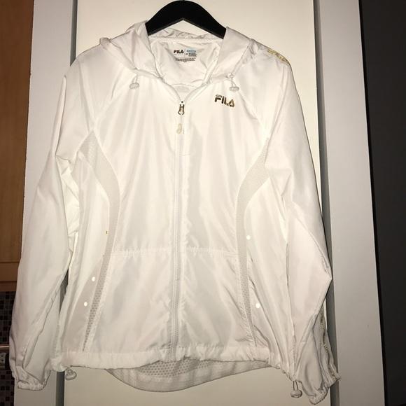 1e8b78377aeeb Fila Tops | White Running Jacket | Poshmark