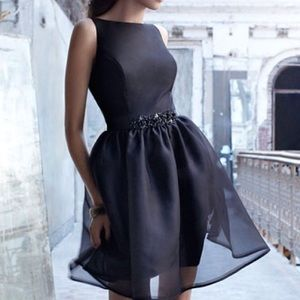 Noir by Lazaro Black Formal Beaded Belt Dress