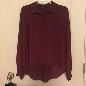 Burgundy long sleeve blouse