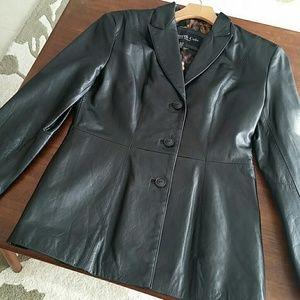 Kenneth Cole Black Leather Jacket sz S
