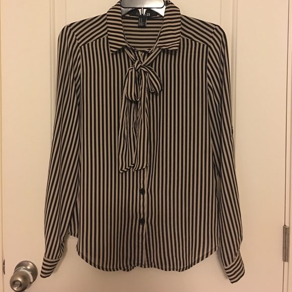 Forever 21 Tops - Black and Tan striped blouse