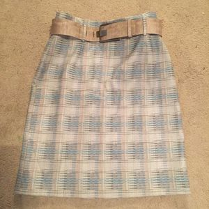 Blue & taupe pencil skirt