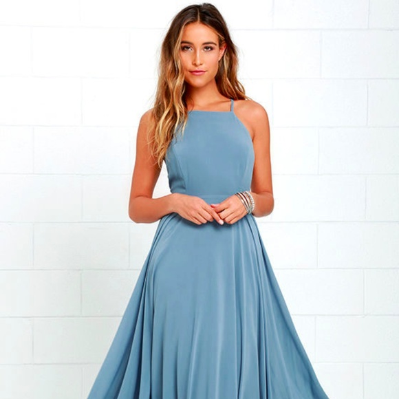 Lulu Dresses | Mythical Kind Of Love Slate Blue Maxi Dress S | Poshmark