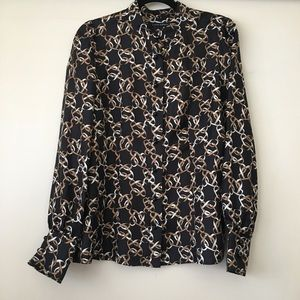 BR Silk Blouse with Chain Print Sz L