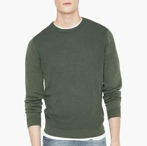 Kamran Textured Olive Green Sweater - Mango Man XS