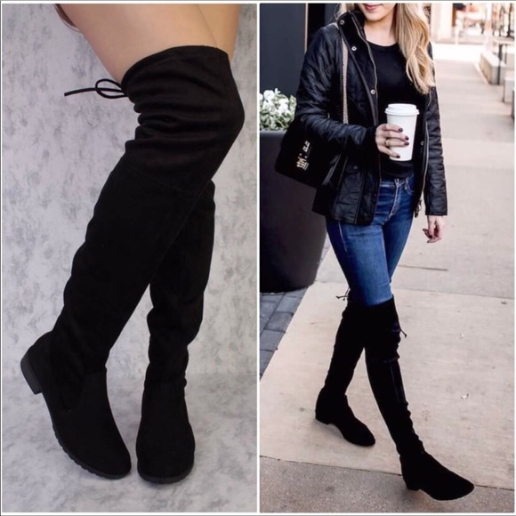 85892253c0da9 Shoes | Avalon Faux Suede Over The Knee Flat Heel Boot | Poshmark