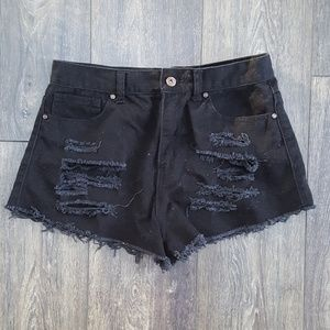 Forever 21 Black Cut Off Distressed Shorts