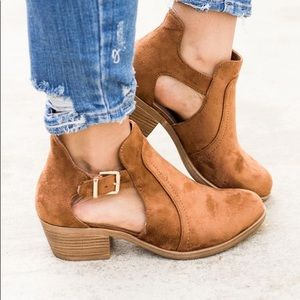 Shoes - REAGAN Camel Ankle Strap Cut Out Bootie