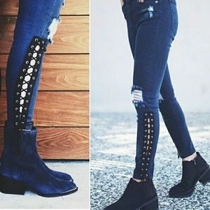 CARMAR Distressed Lace Up Ankle Jeans